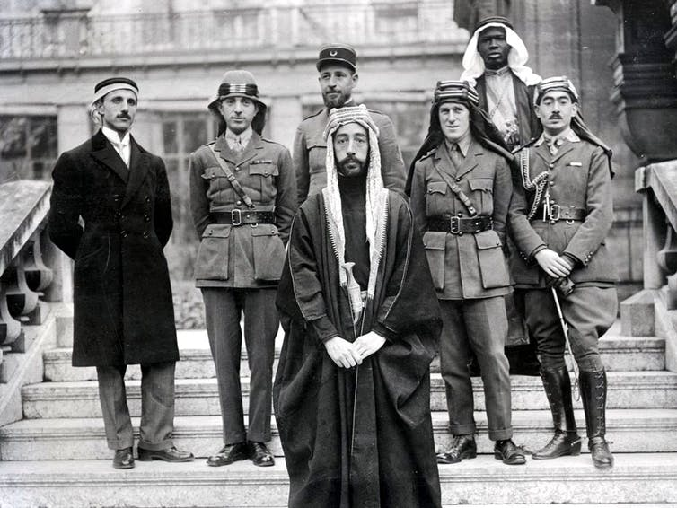 Prince Faisal of Mecca with his delegation at the Peace Conference.