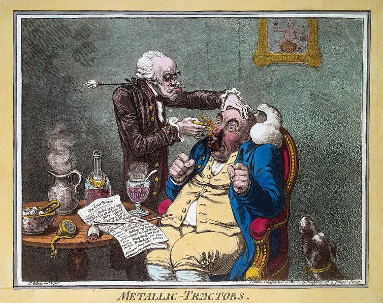 Cartoon of a quack treating a patient with Perkins Patent Tractors.